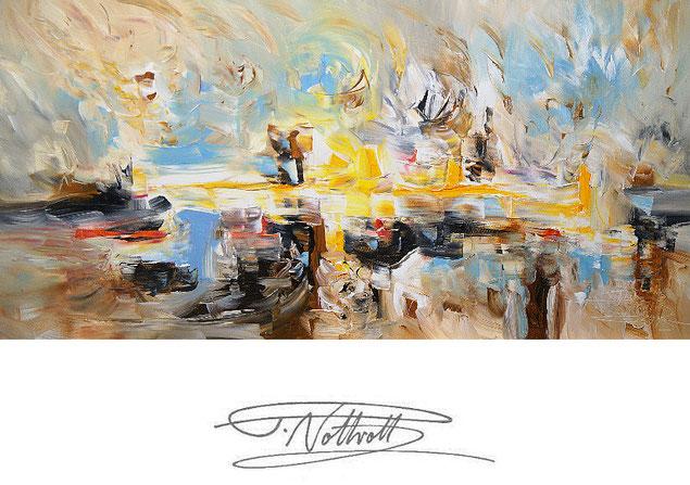 Abstraktes, modernes Gemälde im Panorama-Format. Fertig auf einen Keilrahmen gespannt.