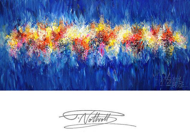 Abstraktes Gemälde im Panorama-Format. Fertig auf einen Keilrahmen gespannt. Blau.