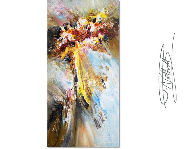 Abstraktes, modernes Gemälde im eleganten Hoch-Format. Fertig auf einen Keilrahmen gespannt.