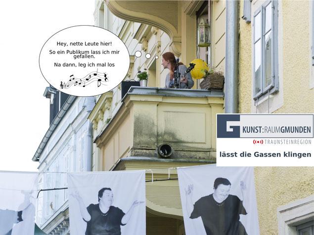 Foto (c) Anette Friedel. Inga Lynch performt beim ersten FENSTERKONZERT von KUNST:RAUM Gmunden