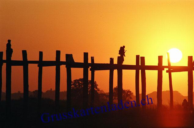 Sonnenuntergang Myanmar Grusskarten