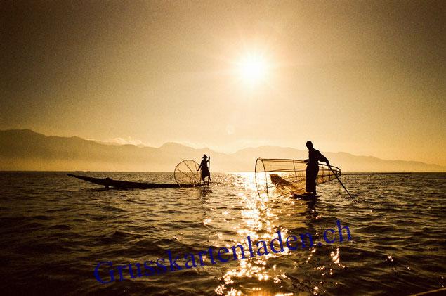 Sonnenuntergang Myanmar Fotokarten