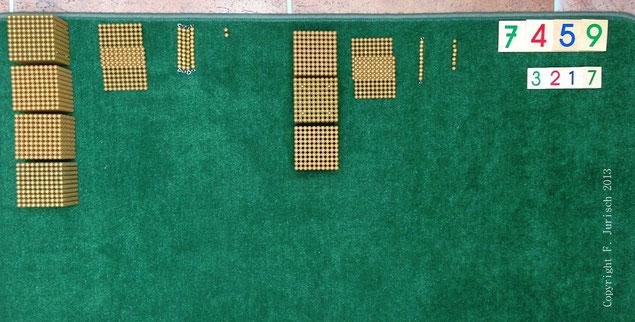 montessori goldene perlen subtraktion