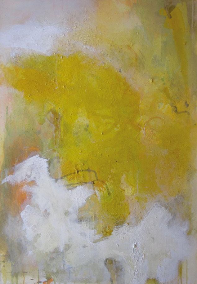abstraktes Bild · Gelb · Orange · weiss · Leinwand · Patrick Öxler · Wiede Fabrik · Atelier