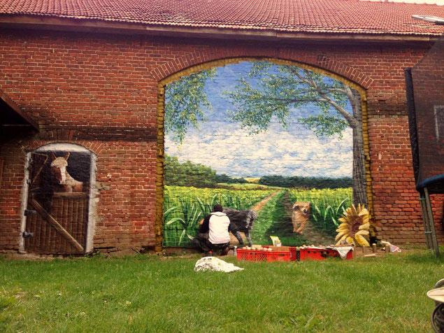 Ziegelwand Wandgestaltung qauf Bauernhof