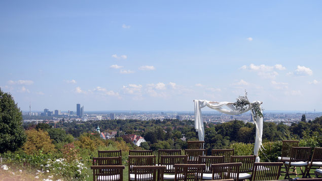 Ausblick über Wien vom Weingut am Reisenberg