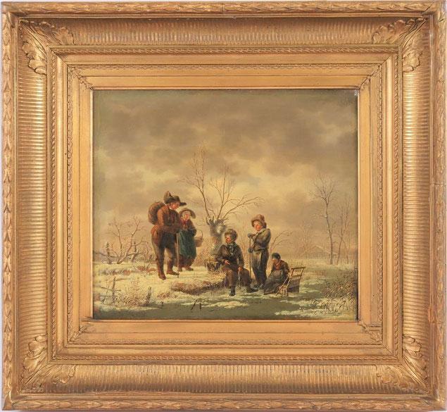 te_koop_aangeboden_een_winter_landschap_van_de_nederlandse_kunstschilder_gerrit_hendrik_gobell_1786-1833_hollandse_romantiek
