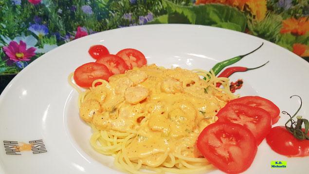 Cremige Dinkel-Pasta Gambanero mit Garnelen oder Scampi - scharf und lecker nach einem Kochrezept aus Dinkel-Dreams 2 von K.D. Michaelis