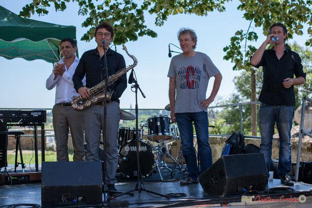 """Hervé Saint-Guirons, Jean Vernhères, Christian """"Ton Ton"""" Salut, Cyril Amourette; The Soul Jazz Rebels, Festival JAZZ360, Camblanes-et-Meynac, 10/06/2017"""