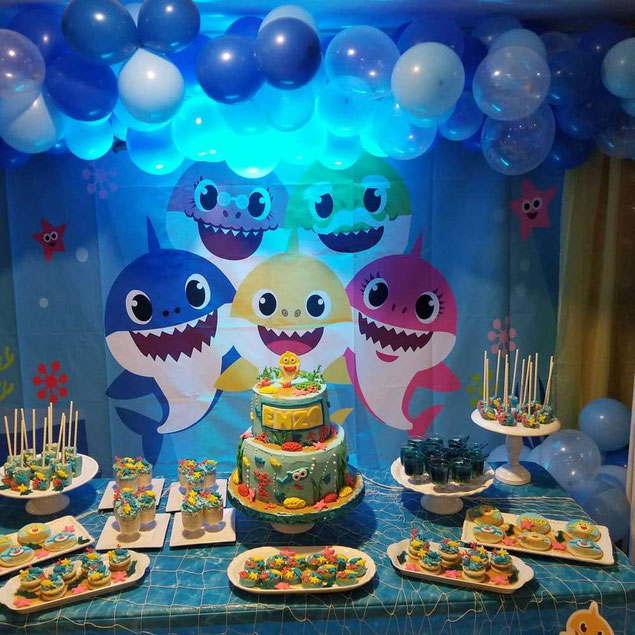 decoracion fiesta baby shark