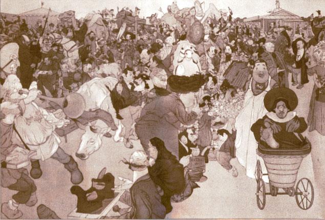 Базар 19 века. Автолитография П.Е. Щербова. 1908 год.