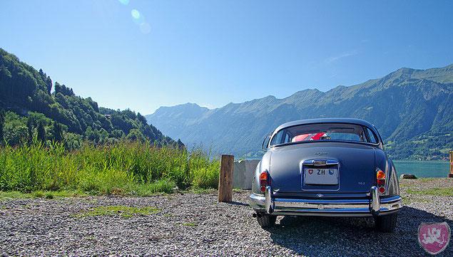 Hochzeit am Brienzersee, alter Porsche als Hochzeitsfahrzeug
