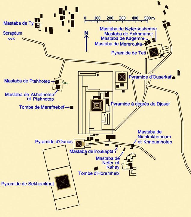 Saqqara : Plan de la nécropole