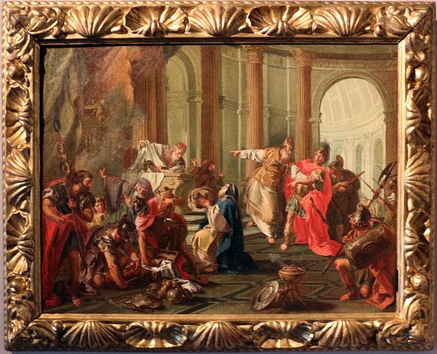 En 56 av J-C, le Temple de Jérusalem est pillé.  Crassus (115-53 av J-C), considéré comme l'homme le plus riche de l'histoire de Rome, général romain, gouverneur de Syrie en 54 av J-C, s'empare du trésor du Temple.