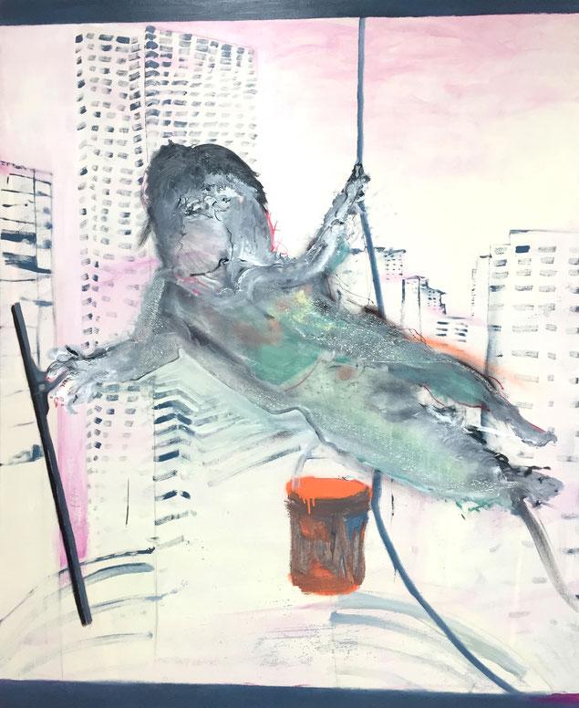 »mit Durchblick« in Zusammenarbeit mit Pascal Brinkmann, 130 x 105 cm, Öl und Acryl auf Baumwolle