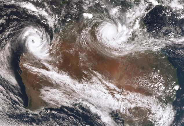 Satellite image of Tropical Cyclone Veronica (left) and Tropical Cyclone Trevor over Cape York Peninsular, 23 March 2019. from www.bom.gov.au.