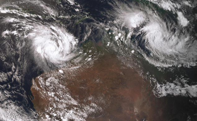 Satellite image of Tropical Trevor over Cape York 20 March 2019. From www.bom.gov.au.