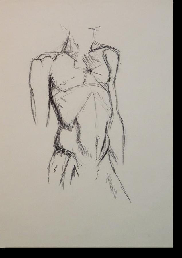 Kohleskizze eines männlichen Torsos auf getöntem Papier, von Gunter Schmidt Bildhauer. männlicher Körper als Zeichnung.