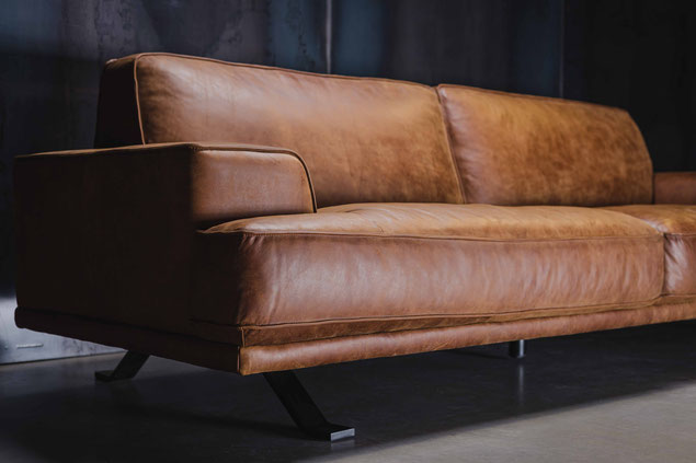 Echtleder Sofa MAYBACH in Cognac Vintage Konfiguration