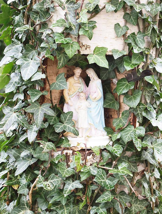 Skulptur (Heilige Familie) in einer Höhlung eines mit Efeu überwucherten Birken-Baums.