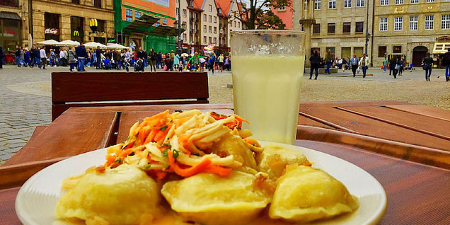 vegan pierogies at vega wroclaw poland