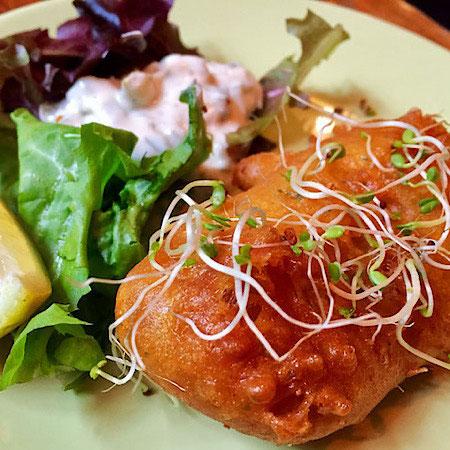 vegan fish at vegan food pimp