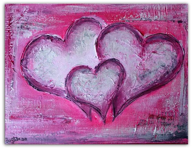 Herzbild 149 - Herz Bilder - Herz Malerei abstrakt - Herz Acryl Gemälde - Geschenk