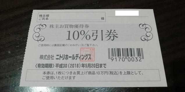 ニトリ,株主優待券