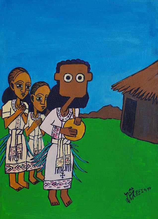 NALA und die Sylvester Zeremonie in Äthiopien, gemalt von Kiros Ashenafi, Addis Abeba