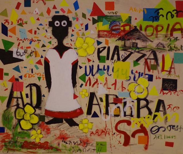 NALA und die Sylvester Zeremonie in Äthiopien, gemalt von Tsega Tesfu, Addis Abeba