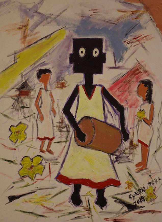 NALA und die Sylvester Zeremonie in Äthiopien, gemalt von Eyerusalem Teka, Addis Abeba