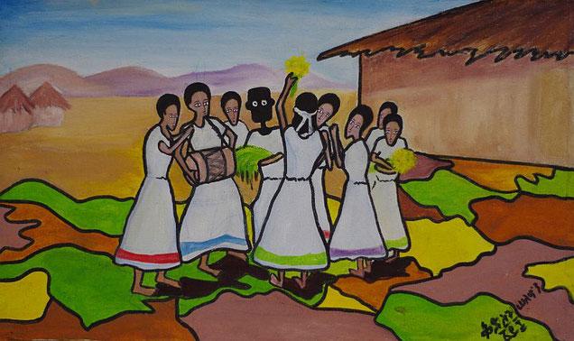 NALA und die Sylvester Zeremonie in Äthiopien, gemalt von Kidist Solomon, Addis Abeba