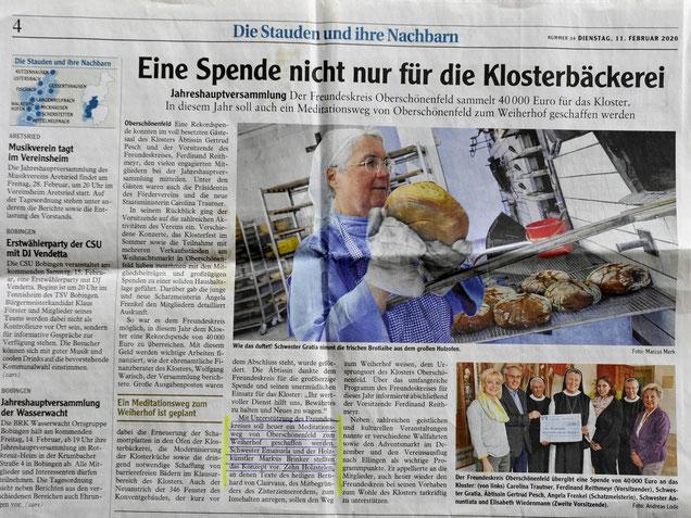 Pressebericht über meine Mitarbeit am Meditationsweg Kloster Oberschönenfeld- Weiherhof