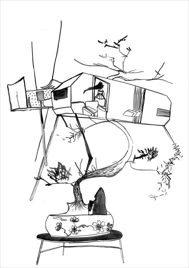 *Bonsaihaus, 2007, Tusche auf Papier, 59,4 x 84 cm