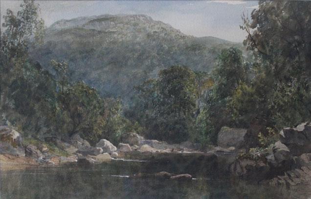 Karl Lang Archiv Büsingen, Rheinmühle, Thomas Burton Watkin Forster TBWF Aquarell watercolor