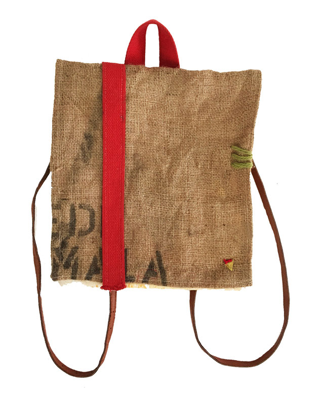 Morgan backpack - front | made out of burlap, canvas, and fabric | SOLD