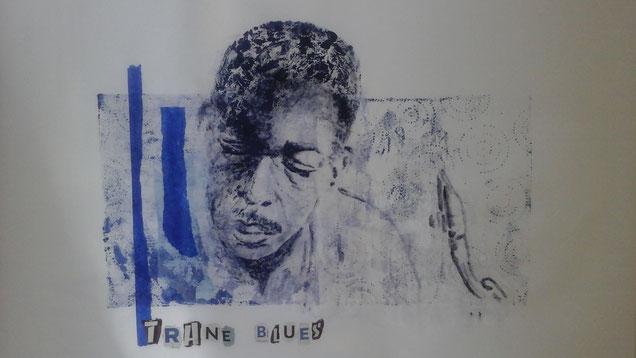 """Trane blues ou """"le charmeur de saxo"""" (monotype & collage - 2017)"""