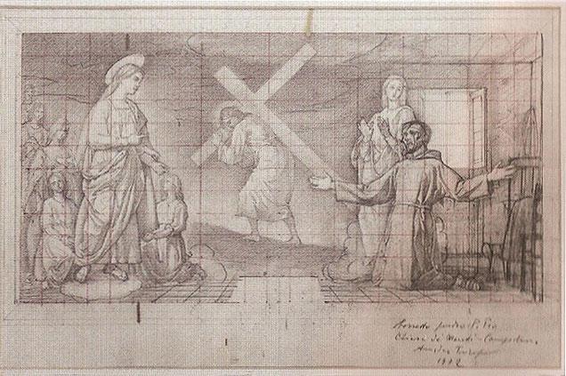 Amedeo Trivisonno bozzetto Apparizione Madonna del Monte a Padre Pio