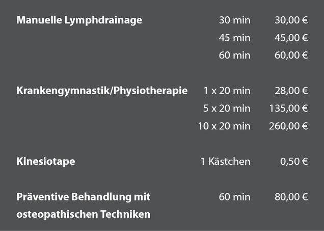Preise Physiotherapie Krankengymnastik Lymphdrainage
