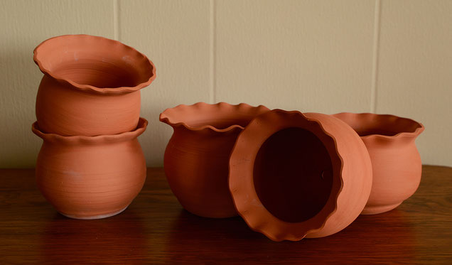 fluted rim flower pots by amy myers at the small sunny garden