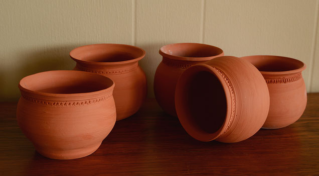 carved pattern flower pots by amy myers at the small sunny garden
