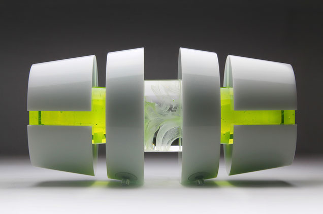 Uranium IV. | kiln cast, cut, grinded, glued, hand polished opal and colored glass| 20 x 60 x 20 cm | 2011 | ● Sir Elton John Art Collection