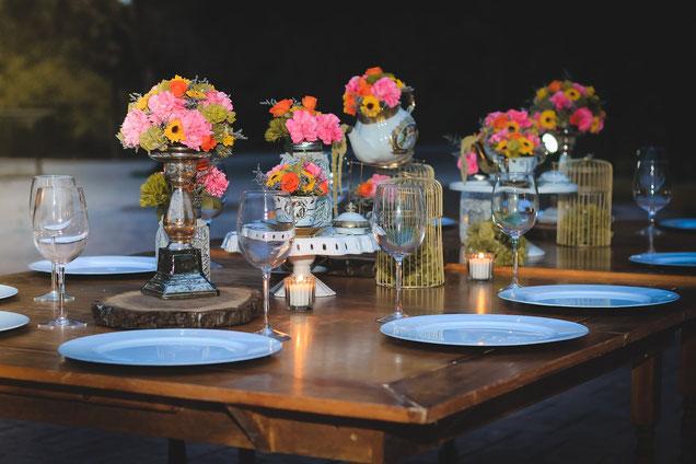 Vintage-Hochzeit, Tischdeko