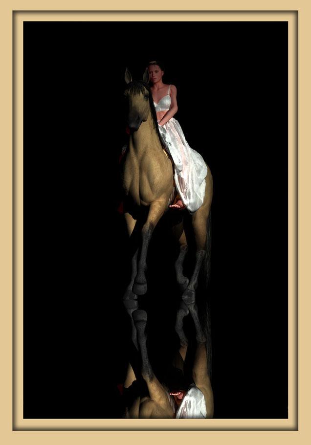 Pferd und Reiterin auf der Aachener Kunstroute 2016. Die Galerie Frutti dell'Arte zeigt Bilder des Aachener Künstlers Marcus Löhrer.