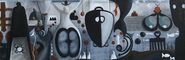 tableau symbole-peinture dans les tons de gris-tableau horizontal. Galerie d'art sud de la france-galerie d'art Cannes- Monaco-saint Paul de Vence