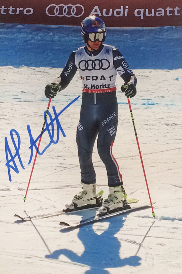 Alexis Pinturault France, Olympia Bronze Medal, Gold Worldchampionship Teamevent St. Moritz, won Overall Worldcup 2021, Picture taken at Worldchampionship 2017 Autograph by Mail