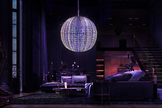 """Lustre Fluogram """"Crystal planet"""" à lumière noire, en cristal résines fluorescentes et métal chromé"""