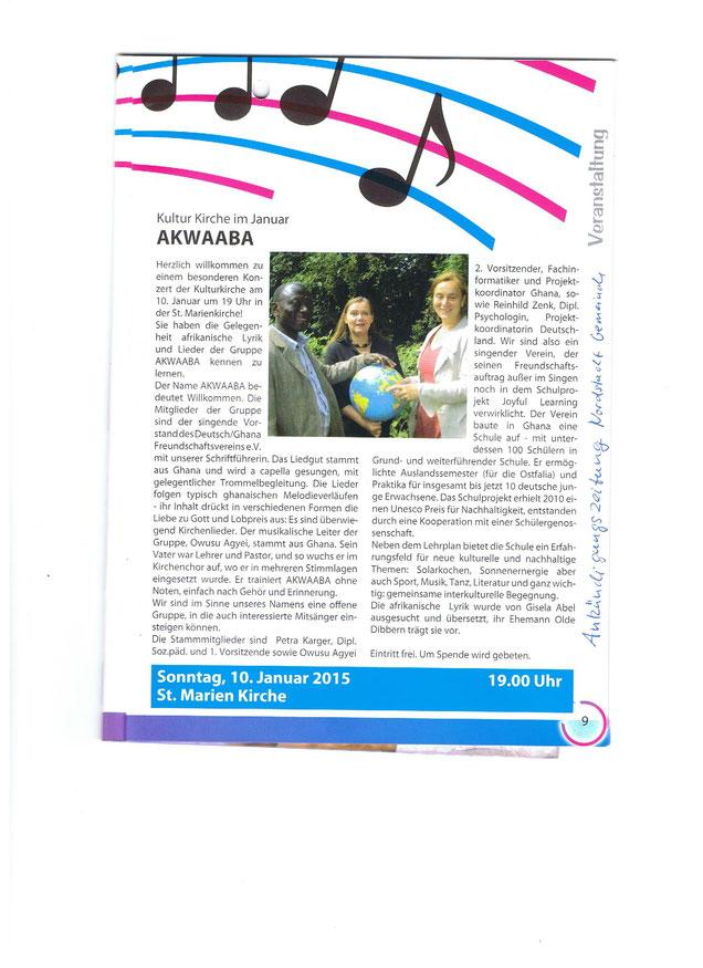 Ankündigung im Gemindeblatt der Norstadtgemeinde