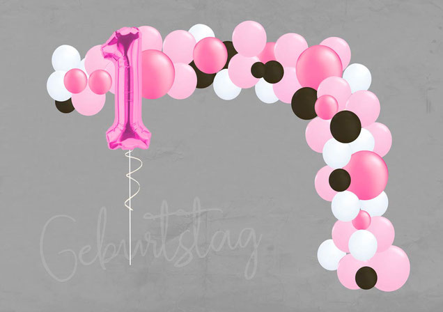 Ballon Luftballon DIY Girlandenset Girlande Ballongirlande Set zum Selbstdekorieren Deko Dekoration Geburtstag 1 Kindergeburtstag Zahl XXL Taufe Baby Kommunion Hochzeit basteln zusammenbauen rosegold gold naturtöne boho vintage scheunenhochzeit Versand