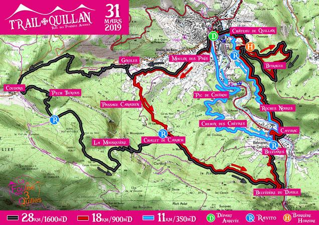 Plan des parcours du Trail Quillan 2019